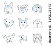 a set of 9 dog icons featuring... | Shutterstock .eps vector #1192129192