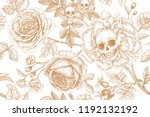skulls  blooming rose flowers... | Shutterstock .eps vector #1192132192