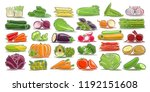 vector set of fresh vegetables  ... | Shutterstock .eps vector #1192151608