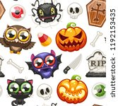 halloween seamless pattern with ... | Shutterstock .eps vector #1192153435