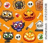 halloween seamless pattern with ... | Shutterstock .eps vector #1192153438