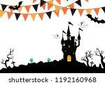 halloween cemetery background... | Shutterstock .eps vector #1192160968