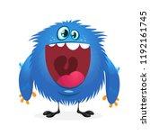 happy cartoon monster. vector... | Shutterstock .eps vector #1192161745
