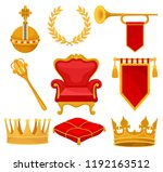 monarchy attributes set  golden ... | Shutterstock .eps vector #1192163512