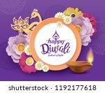 diwali festival greeting card... | Shutterstock .eps vector #1192177618