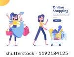 people shopping in supermarket. ... | Shutterstock .eps vector #1192184125
