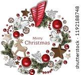 vector christmas wreath.... | Shutterstock .eps vector #1192188748