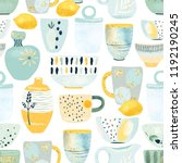 kitchen seamless pattern of... | Shutterstock .eps vector #1192190245