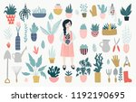 botanic collection with garden... | Shutterstock .eps vector #1192190695