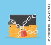 wallet and coins with lock.... | Shutterstock .eps vector #1192197658