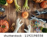 happy halloween  hands and... | Shutterstock . vector #1192198558