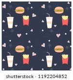 pattern of variety fast food... | Shutterstock .eps vector #1192204852