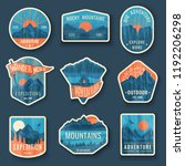 set of nine mountain travel... | Shutterstock .eps vector #1192206298