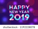 happy new year 2019 greeting... | Shutterstock .eps vector #1192228078
