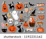 set of halloweeen stickers ... | Shutterstock .eps vector #1192231162