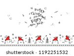 hand drawn christmas card with... | Shutterstock .eps vector #1192251532