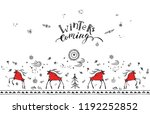 hand drawn christmas card with... | Shutterstock .eps vector #1192252852