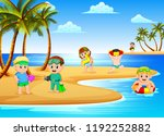 the beautiful beach view with... | Shutterstock . vector #1192252882