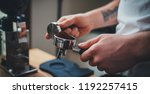 process of preparation espresso ... | Shutterstock . vector #1192257415