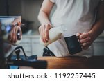 frontal view of coffee shop... | Shutterstock . vector #1192257445