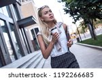 the blonde woman is afraid to... | Shutterstock . vector #1192266685