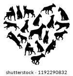 a bull terrier or similar dog... | Shutterstock . vector #1192290832