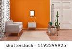 orange living room and orange... | Shutterstock . vector #1192299925
