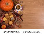 fall concept with pumpkin and a ...   Shutterstock . vector #1192303108