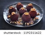 rum balls are a truffle like... | Shutterstock . vector #1192311622