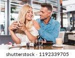 boyfriend hugging smiling... | Shutterstock . vector #1192339705