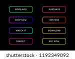 vector set of modern neon app... | Shutterstock .eps vector #1192349092
