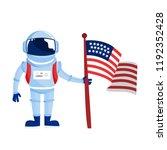 astronaut in spacesuit standing ... | Shutterstock .eps vector #1192352428