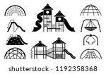 kid playground equipment icons. ... | Shutterstock .eps vector #1192358368