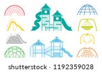 kid playground equipment icons. ... | Shutterstock .eps vector #1192359028