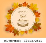 autumn sale. autumn background... | Shutterstock .eps vector #1192372612