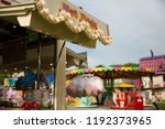 hot dog stand at the fairground   Shutterstock . vector #1192373965