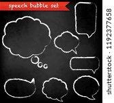 black chalk board with speech... | Shutterstock .eps vector #1192377658