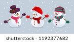 Funny Snowmen In Hats  Scarfs...
