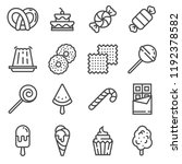 sweets and candy icon set. ice... | Shutterstock .eps vector #1192378582