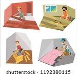 floor interior and decor making ... | Shutterstock .eps vector #1192380115