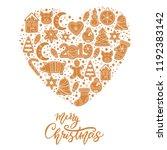 set of christmas gingerbread... | Shutterstock .eps vector #1192383142