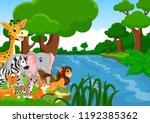 illustration of wild animals in ... | Shutterstock . vector #1192385362