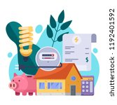utility bills and saving... | Shutterstock .eps vector #1192401592