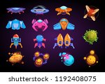 cartoon planets and spaceships. ... | Shutterstock .eps vector #1192408075