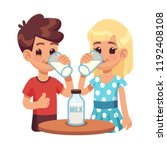 kids drink milk. cartoon... | Shutterstock .eps vector #1192408108