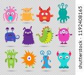 cute cartoon baby monsters... | Shutterstock .eps vector #1192408165