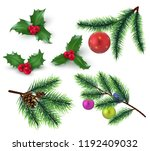 christmas decoration. realistic ... | Shutterstock .eps vector #1192409032