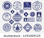 ballpoint pen santa mail stamps ... | Shutterstock .eps vector #1192409125