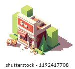 vector isometric new shop or... | Shutterstock .eps vector #1192417708