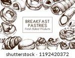 breakfast pastries and desserts ... | Shutterstock .eps vector #1192420372